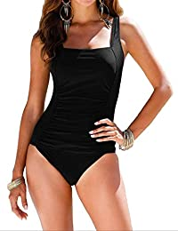 73cd9425fb935 Women s Black One Piece Bathing Suit Ruched Tummy Control Swimsuit