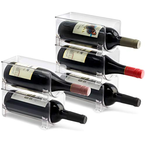 ELTOW Modular Plastic Wine Rack (5-Pack) Stackable Display and Storage System – Clear, Heavy-Duty PET Plastic – Home Kitchen, Bar, Countertop, or Dining Room Use