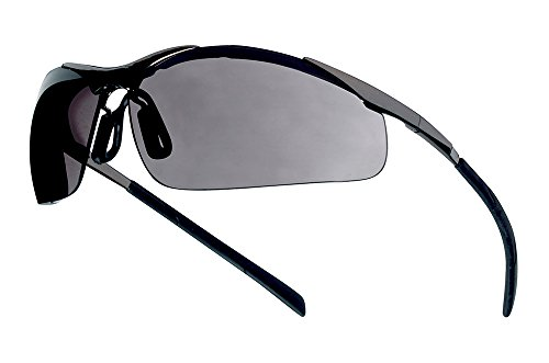 Bollé Safety 253-CM-40050 Contour Safety Eyewear with Silver Metal + TPE Semi Rimless Frame and Smoke Lens (Bolle Metals)