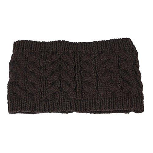 Women Head Wrap Soft Hair Band Lady Rhinestone Headwear Turban Twist Headband (Coffee) - 6