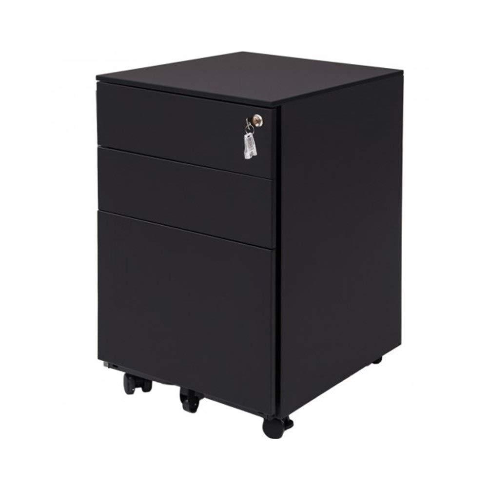 MUZIWENJU 3 Drawer File Cabinet Mobile Metal Lockable File Cabinet Under Desk Fully Assembled Except for 5 Castors (White, Black) (Color : Black)