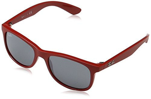 Ray-Ban Junior 0RJ9062S Rectangular Sunglasses, Matte Red, 48 - Ray Red Sunglasses Bans