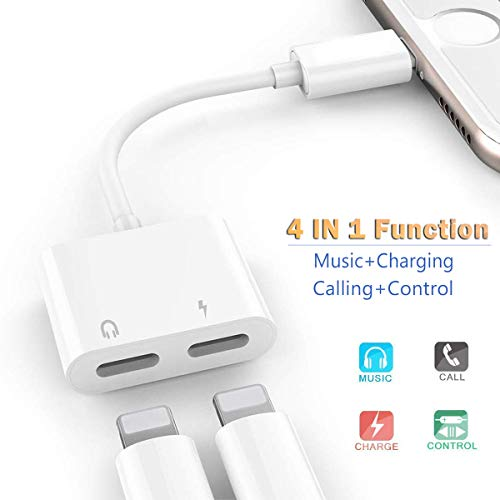 Headphone Jack Adapter for iPhone Xs/Xs Max/XR/8/8 Plus/X/7/7 Plus Adapter Audio & Charger & Call & sync Cable For iPhone Dongle Splitter Connector 2 in 1 Splitter Adapter Support All IOS System-White