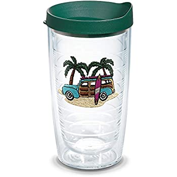 1d6de615fcd Tervis 1302104 Woodie Insulated Tumbler with Emblem and Hunter Green Lid  16oz Clear