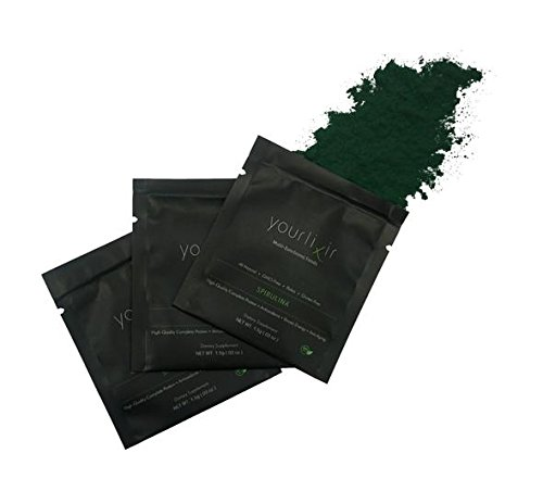 Yourlixir - Month Supply of 100% Organic Spirulina Powder - Travel Friendly - All Natural - Paleo - Vegan Protein - Non-GMO - Gluten-Free - 30 Single Serving Packets - Amino Acids.