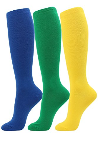 Solid Color Knee Socks - Women's Knee High Socks Essential Solid Color Casual Multicolored Stripe Fashion 3-4 pairs (3pairs-Solid Color I)