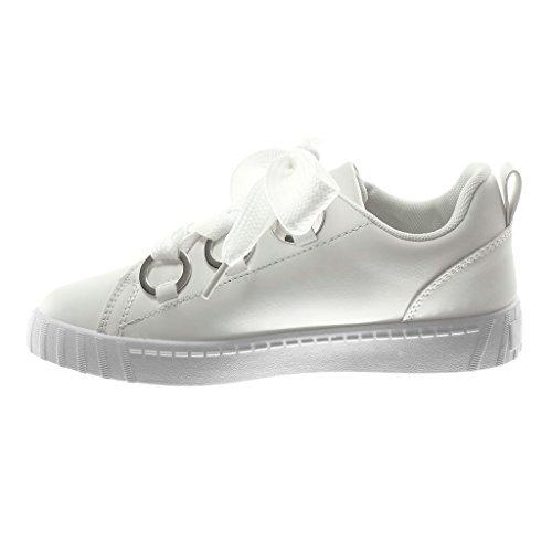 Bianco Chic Tacco Sporty Anello Cm Sneaker Piatto Angkorly Scarpe Con Donna Metallico Moda Tennis 3 XwI6Cx