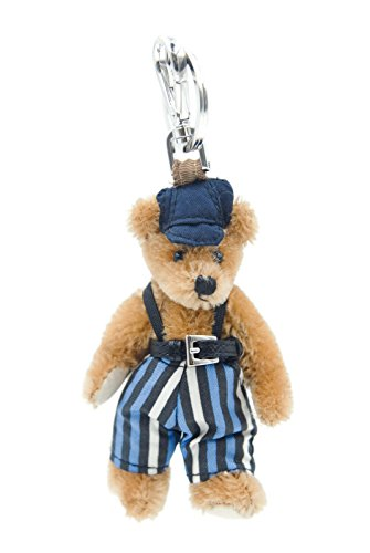 Prada Saffiano Belted Striped Overall Teddy Bear Hand Bag Charm Embellishment & KeyChain