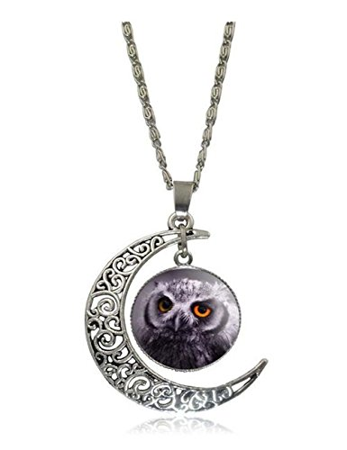 [Darkey Wang Woman Fashion Owl Moon Time Gemstone Retro Necklace(2#)] (Period Costumes 1830)