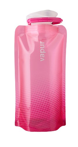 Vapur Shades 0.5L BPA Free Foldable Flexible Water Bottle w/Carabiner (Hot Pink)
