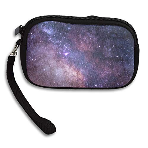 Jemys The Stars and Galaxy As Seen from Rocky Mountain National Park Small Wallet,Wallet with Zipper,100% Polyester Wallet with Pattern for Mobile Phone, Bank Card, ID Card -