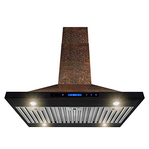 AKDY Island Mount Range Hood -36″ Embossed Copper Hood Fan for Kitchen – 4-Speed Professional Quiet Motor – Premium Touch Control Panel – Elegant Vine Design – Baffle Filter & Halogen Lamp