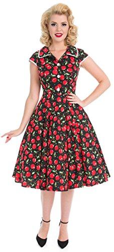 Kleid Swing mit Dress Polka amp; Kirschen Hearts Kirschen Schwarz Damen Roses Dot BwtAqAvx