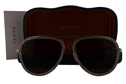 Gucci GG0062S Sunglasses Gold w/Brown Lens 004 GG - Gg0062s Gucci