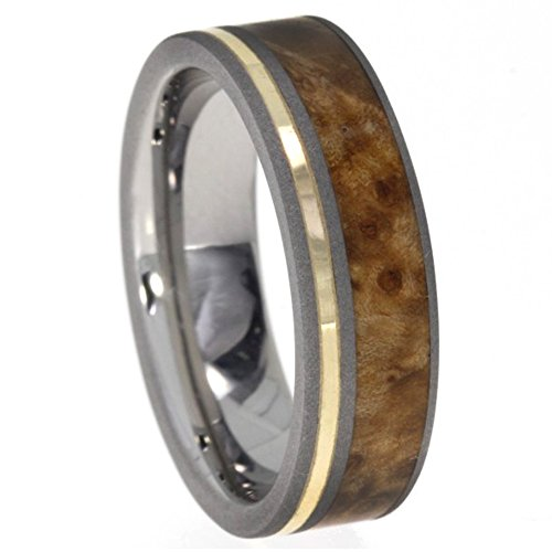 Black Ash Burl Wood, 14k Yellow Gold 5.5mm Comfort Fit Sandblasted Titanium Band, Size 15.75