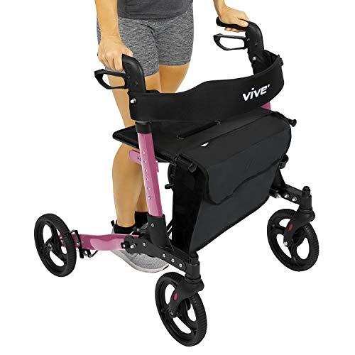 (Vive Folding Rollator Walker - 4 Wheel Medical Rolling Walker with Seat & Bag - Mobility Aid for Adult, Senior, Elderly & Handicap - Aluminum Transport Chair (Pink))