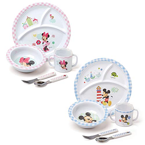- (Set) Disney Mickey & Minnie Mouse Childrens 5 Piece Acrylic Dinner Outfits