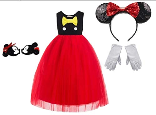 Chunks of Charm Mickie Mouse Inspired Costume Dress/Accessories from (3T Dress)