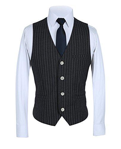 Mens Pinstripe Suit 3 Piece Slim Fit Casual Dress Suits Blazer+Vest+Pants