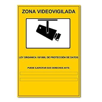 Cartel Zona Videovigilada 29,7 x 21 CM autoadhesivo para cámaras de seguridad CCTV LOPD: Amazon.es: Industria, empresas y ciencia