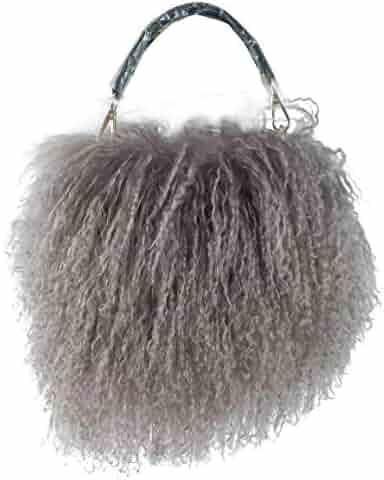 57ee2c9310 ZAKIA Womens Mongolian Lamb Fur Handbag Goat Clutch Shoulder Bags Purse  with Chain