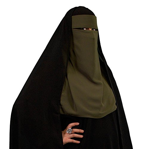 Ninja Niqab Einlagig - DUNKELGRÜN - Muslim Burka Khimar Islamische Kleidung 11-3005