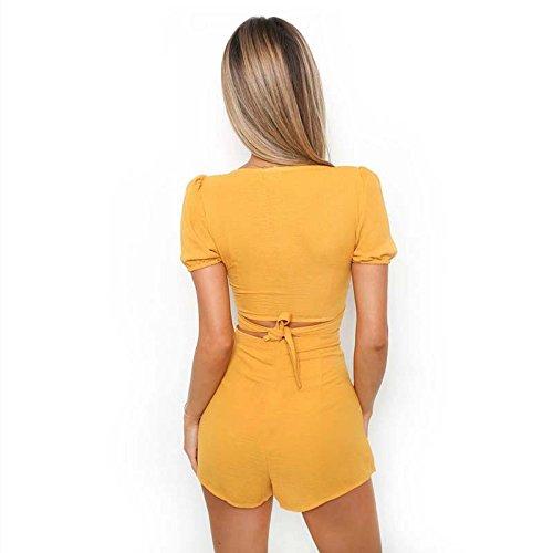 Pezzi Corta Bluse V Estate Casual Strappy Giallo Donne Shorts Crop Manica Scollo Due Irregular Abbigliamento Elegante Set Top Ragazza Moda Colore A Puro 80wIdq