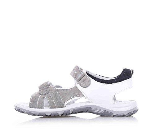 NERO GIARDINI - Weiß-graue Sandale aus Leder und Wildleder, mit Klettverschluss, Jungen