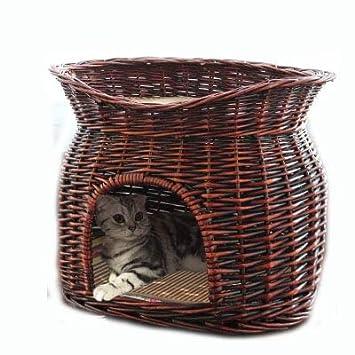 Casa De Gato Cat Jaula Verano Perro Cama Perrera Cuatro Temporadas Mascota Nido Hecho A Mano Hecho A Mano De Mimbre Sauce Fresco Lavable,Brown,S: Amazon.es: ...
