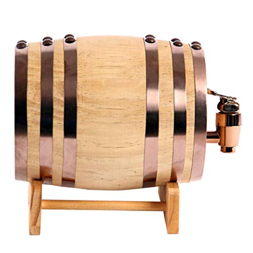 Oak Barrel Wood Wine Dispenser Built-in Aluminum Foil Liner with Wood Stand for Storing Your own Whiskey, Beer, Wine, Bourbon, Brandy, Hot Sauce & More 5 Liters by Woode (Image #1)