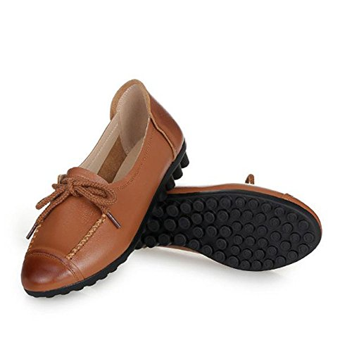 Casual Ladies Large Shoes Middle with Brown Aged Size Shoes Yangjiaxuan Flat Handmade Leather Wear Brown qxg8I4n8Z