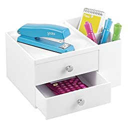 mDesign Office Supplies Desk Organizer for Staplers, Scissors, Pens, Markers - 2 Drawer Side Caddy, White