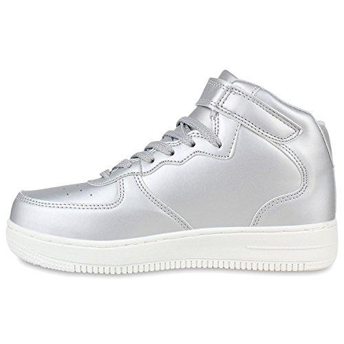 Damen Sportschuhe Basketballschuhe Sneakers Profilsohle Flandell Silber Glatt