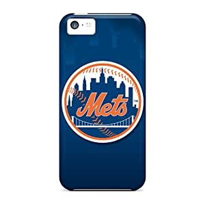 Shock Absorbent Hard Phone Cover For Iphone 5c With Allow Personal Design Colorful New York Mets Skin AaronBlanchette