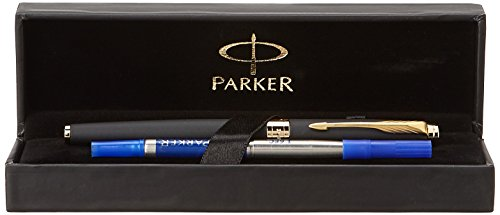Parker Aster Matte Black GT (Gold Trim) Roller Ball Pen + Gift Box