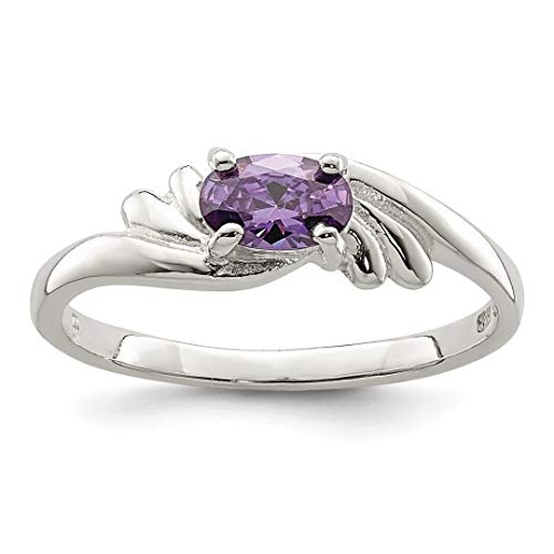 925 Sterling Silver Purple Oval Cubic Zirconia Cz Band Ring Size 6.00 Fine Jewelry Gifts For Women For Her