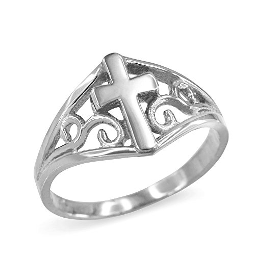 Religious Jewelry by FDJ Filigree Cross Ring for Women in Fine 925 Sterling Silver (Size 6.5) ()