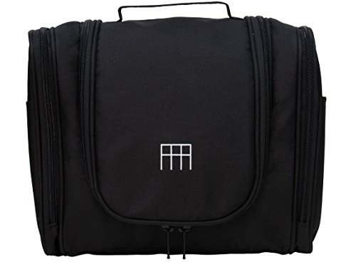 Price comparison product image RFA Multinational Toiletry Travel Bag Organizer for Men Women, Sturdy Hanging Hook, Water Resistant, Large Capacity, Makeup, Cosmetic, Personal Items (Black)