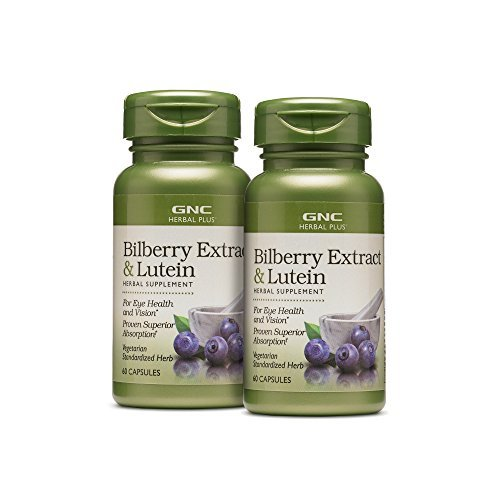GNC Herbal Plus Bilberry Extract with Lutein for Eye Vision Health - 2 Pack