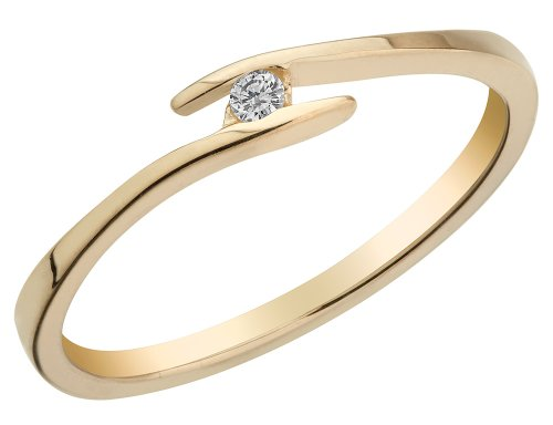 10K Yellow Gold Promise Ring Band with Tension Set Accent Diamond ()