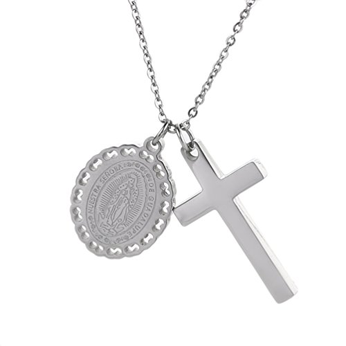 SAKAIPA Stainless Steel Cross Necklace with Pendant Christian Saint Medal Disc Circle Virgin Mary Dainty 19.6 inch Necklaces (Silver Tone)