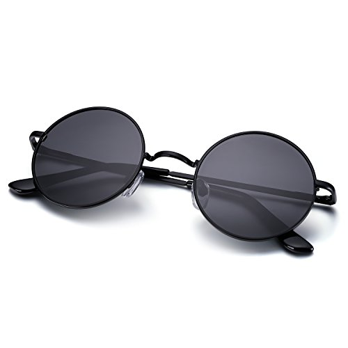 Menton Ezil Circle Classic Metal Frame Sunglasses Polarized Mens Driving Glasses - Circle Sunglasses Men Frame