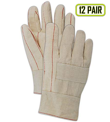Magid Glove & Safety 95KBT Magid Heater Beater 20 oz. Cotton Hot Mill Gloves w/Band Top Cuff, Natural, Men's (Fits Large) (Pack of ()