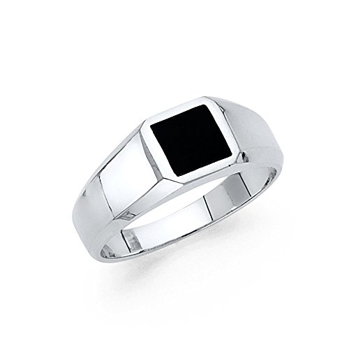 Mens Fancy Onyx (Solid 14k White Gold Square Onyx Ring Mens Band Black Stylish Plain Design Polished Finish Fancy, Size 12)
