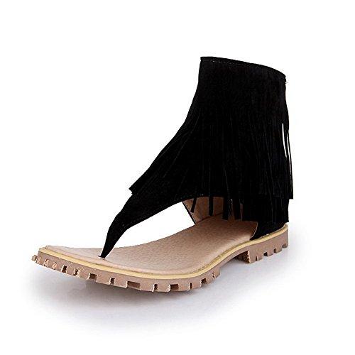 Amoonyfashion Kvinners Faste Imiterte Semskede Lave Hæler Splittet Tå Glide-flip-flop-sandaler Sorte