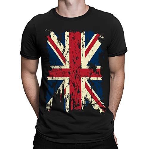 SpiritForged Apparel Vintage Distressed Great Britain Flag Men's T-Shirt, Black Large