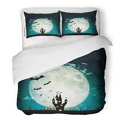 Emvency 3 Piece Duvet Cover Set Brushed Microfiber Fabric Breathable Halloween Full Moon Night and Mystery Pumpkins Bats Spiders Castle Graveyard Bedding Set with 2 Pillow Covers Full/Queen Size