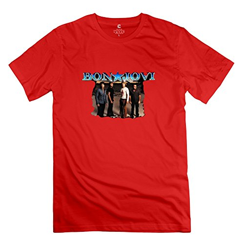 Crystal Men's Bon Jovi Normal Fit Design T-Shirt Red US Size XL