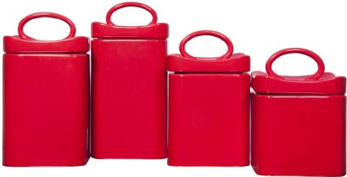 (4) Square Red Ceramic Canisters with Lids ~ Storage & Home Decor Set (Stainless Steel Dinette Sets)