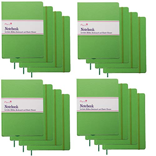 Paper Craft (16 Pack) 140pg 8.5 x 5.5 Leatherette Lined Writing Journals Wide Ruled Banded Notebook with Ribbon Bookmark, Green, (a5 Size)